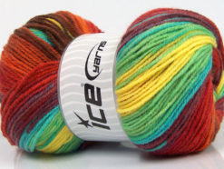Lot of 4 x 100gr Skeins Ice Yarns MAGIC LIGHT Yarn Yellow Green Turquoise Maroon Red Burgundy