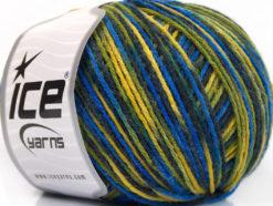 Lot of 8 Skeins Ice Yarns WOOL DK COLOR (50% Wool) Yarn Blue Shades Green Yellow