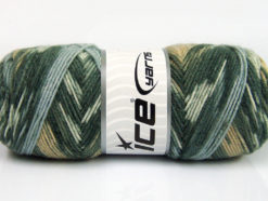 Lot of 4 x 100gr Skeins Ice Yarns BONITO ETHNIC (50% Wool) Yarn Grey Shades White Light Brown Light Blue