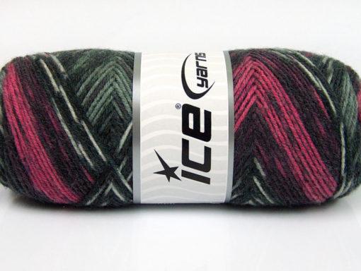 Lot of 4 x 100gr Skeins Ice Yarns BONITO ETHNIC (50% Wool) Yarn Grey Shades Pink