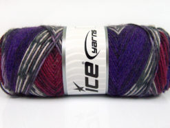 Lot of 4 x 100gr Skeins Ice Yarns BONITO ETHNIC (50% Wool) Yarn Purple Burgundy White Grey