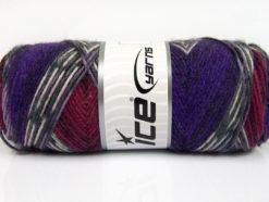 Lot of 4 x 100gr Skeins Ice Yarns BONITO ETHNIC (50% Wool) Yarn Purple Burgundy White Grey