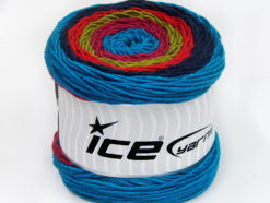 Lot of 2 x 200gr Skeins Ice Yarns CAKES ARAN Yarn Turquoise Navy Salmon Olive Green Orchid