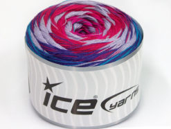 Lot of 2 x 150gr Skeins Ice Yarns CAKES STRIPES (50% Cotton) Yarn Turquoise Purple Lilac Fuchsia Pink