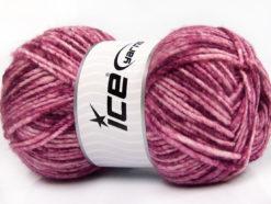 Lot of 4 x 100gr Skeins Ice Yarns WOOL MELANGE (30% Wool) Yarn Maroon Pink Shades