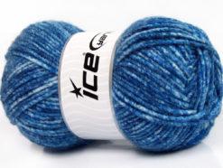 Lot of 4 x 100gr Skeins Ice Yarns WOOL MELANGE (30% Wool) Yarn Blue Shades