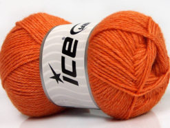 Lot of 4 Skeins Ice Yarns SILK MERINO DK (35% Silk 65% Merino Wool) Yarn Orange