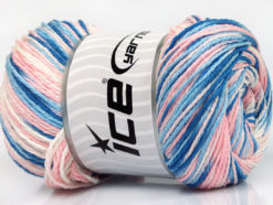 Lot of 4 x 100gr Skeins Ice Yarns DREAM Yarn Blue Shades Light Pink White