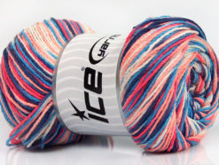 Lot of 4 x 100gr Skeins Ice Yarns DREAM Yarn Blue Shades Salmon Shades White