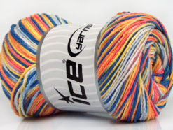 Lot of 4 x 100gr Skeins Ice Yarns DREAM Yarn Blue Shades Salmon Yellow Orange