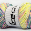 Lot of 4 x 100gr Skeins Ice Yarns DREAM Yarn Neon Yellow Khaki Blue Pink lilac