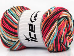 Lot of 4 x 100gr Skeins Ice Yarns DREAM Yarn Black Turquoise Salmon Orange White