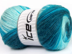 Lot of 4 x 100gr Skeins Ice Yarns ANGORA ACTIVE (25% Angora) Yarn Turquoise Shades