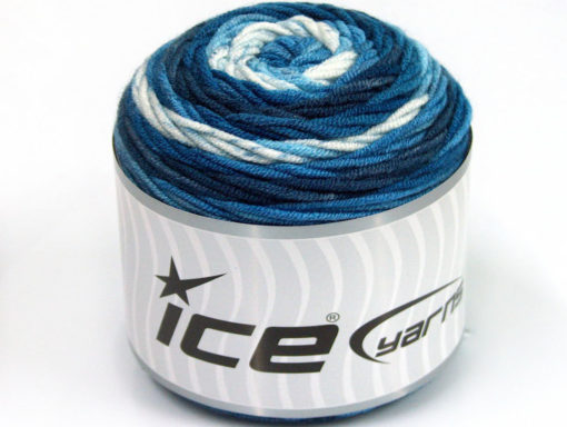 Lot of 3 x 100gr Skeins Ice Yarns CAKES BLUES Yarn Blue Shades White