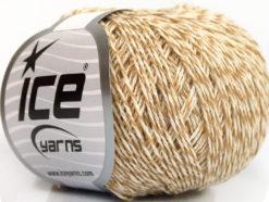 Lot of 8 Skeins Ice Yarns WOOL LIGHT (50% Wool) Hand Knitting Yarn Beige Cream