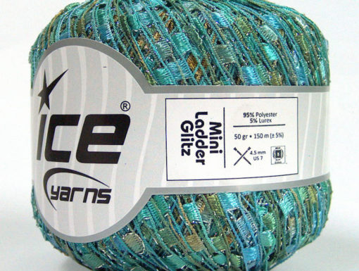 Lot of 6 Skeins Ice Yarns Trellis MINI LADDER GLITZ Yarn Turquoise Mint Green White