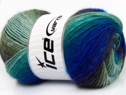 Lot of 4 x 100gr Skeins Ice Yarns LANA BELLA (30% Wool) Yarn Purple Blue Turquoise Khaki