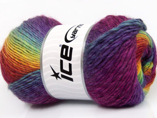 Lot of 4 x 100gr Skeins Ice Yarns LANA BELLA (30% Wool) Yarn Rainbow
