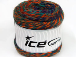 Lot of 2 x 200gr Skeins Ice Yarns CAKES WOOL CHUNKY COLORS (30% Wool) Yarn Purple Copper Green Shades