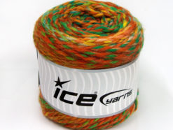 Lot of 2 x 200gr Skeins Ice Yarns CAKES WOOL CHUNKY COLORS (30% Wool) Yarn Green Shades Brown Shades Yellow Gold