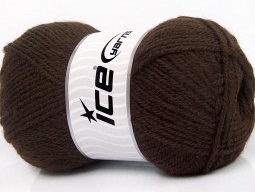 Lot of 4 x 100gr Skeins Ice Yarns FAVOURITE WOOL (50% Wool) Yarn Dark Brown