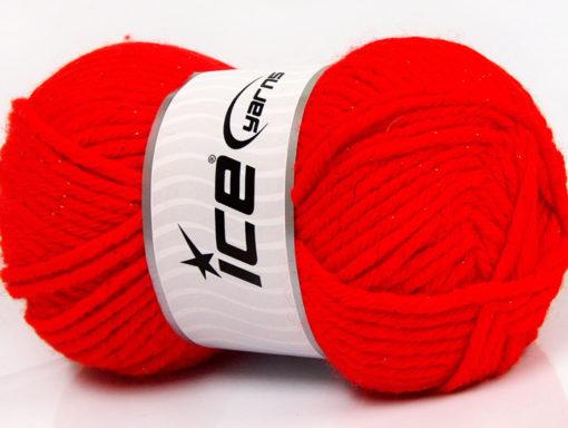 Lot of 4 x 100gr Skeins Ice Yarns WOOL BULKY GLITZ (25% Wool) Yarn Red