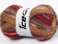 Lot of 4 x 100gr Skeins Ice Yarns JACQUARD (50% Wool) Yarn Burgundy Red Camel Grey