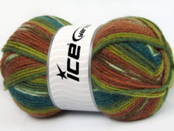 Lot of 4 x 100gr Skeins Ice Yarns JACQUARD (50% Wool) Yarn Green Shades Turquoise Brown Shades