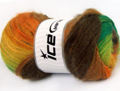 Lot of 4 x 100gr Skeins Ice Yarns MOHAIR ACTIVE (50% Mohair) Yarn Brown Orange Yellow Green Shades