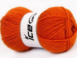 Lot of 4 x 100gr Skeins Ice Yarns FAVOURITE WOOL (50% Wool) Yarn Orange