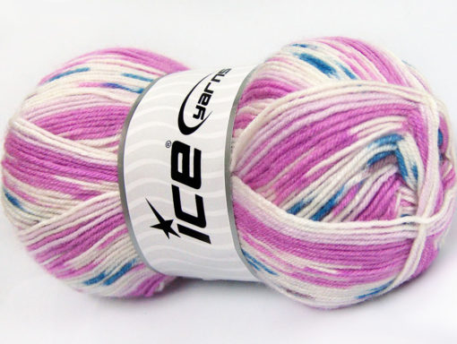 Lot of 4 x 100gr Skeins Ice Yarns BABY WOOL DESIGN (25% Wool) Yarn Orchid White