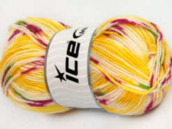 Lot of 4 x 100gr Skeins Ice Yarns BABY WOOL DESIGN (25% Wool) Yarn Yellow White