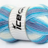 Lot of 4 x 100gr Skeins Ice Yarns BABY WOOL DESIGN (25% Wool) Yarn Blue Lilac White