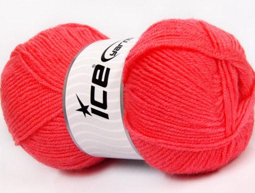 Lot of 4 x 100gr Skeins Ice Yarns FAVOURITE WOOL (50% Wool) Yarn Salmon