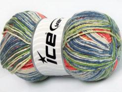 Lot of 4 x 100gr Skeins Ice Yarns COTTON SPRAY (50% Cotton) Yarn Salmon Blue Shades Green Gold
