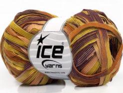 Lot of 8 Skeins Ice Yarns BINARIO Hand Knitting Yarn Olive Green Gold Purple