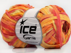 Lot of 8 Skeins Ice Yarns BINARIO Hand Knitting Yarn Salmon Yellow Light Green