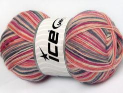 Lot of 4 x 100gr Skeins Ice Yarns MAGIC SOCK (75% Superwash Wool) Yarn Grey Pink Shades Salmon