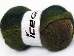 Lot of 4 x 100gr Skeins Ice Yarns ALPACA ACTIVE (20% Alpaca 20% Wool) Yarn Green Shades Brown Shades White