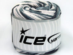 Lot of 2 x 150gr Skeins Ice Yarns CAKES AIR Yarn Black Grey White