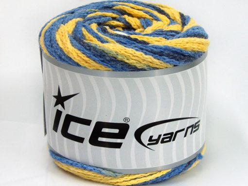 Lot of 2 x 150gr Skeins Ice Yarns CAKES AIR Yarn Blue Shades Yellow White