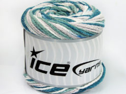 Lot of 2 x 150gr Skeins Ice Yarns CAKES AIR Yarn Teal Khaki Beige White