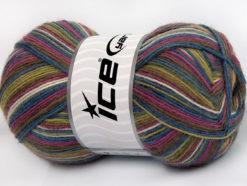 Lot of 4 x 100gr Skeins Ice Yarns MAGIC SOCK (75% Superwash Wool) Yarn Orchid Blue White Green Brown