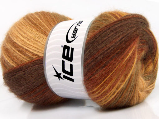 Lot of 4 x 100gr Skeins Ice Yarns ANGORA BATIK (20% Angora 20% Wool) Yarn Brown Shades