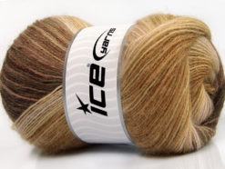 Lot of 4 x 100gr Skeins Ice Yarns ANGORA BATIK (20% Angora 20% Wool) Yarn Brown Shades Camel