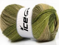 Lot of 4 x 100gr Skeins Ice Yarns ANGORA BATIK (20% Angora 20% Wool) Yarn Green Shades Khaki Camel