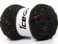 Lot of 4 x 100gr Skeins Ice Yarns FAVORITE TWEED (5% Viscose) Yarn Black Rainbow