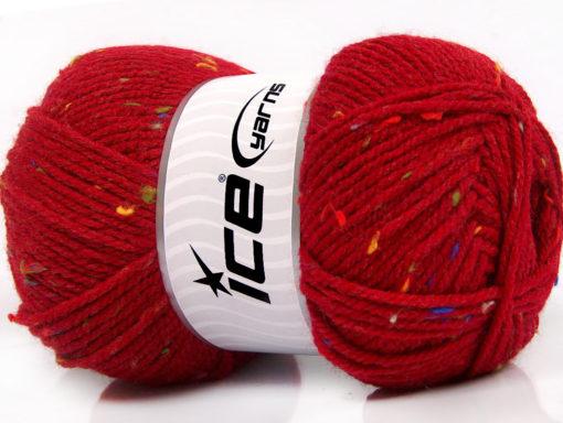 Lot of 4 x 100gr Skeins Ice Yarns FAVORITE TWEED (5% Viscose) Yarn Red Rainbow