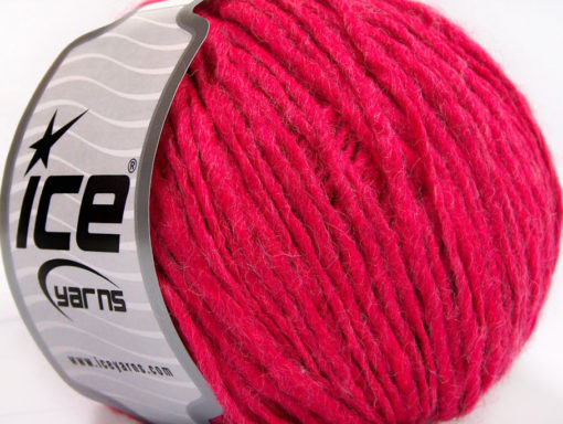 Lot of 8 Skeins Ice Yarns WOOL CORD ARAN (50% Wool) Hand Knitting Yarn Fuchsia