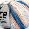 Lot of 8 Skeins Ice Yarns MONACO Yarn Light Salmon Light Blue White